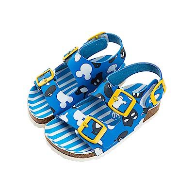迪士尼童鞋 米奇 條紋休閒涼鞋-藍