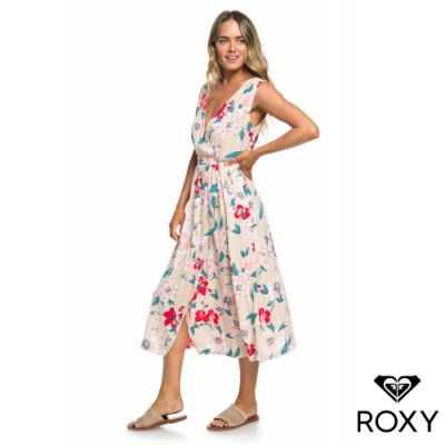 【ROXY】IN THE MOOD FOR DANCE 印花絲質洋裝 米色