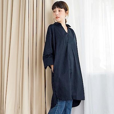 色棉感半開襟寬鬆七分袖長版襯衫/洋裝.2色-OB大尺碼