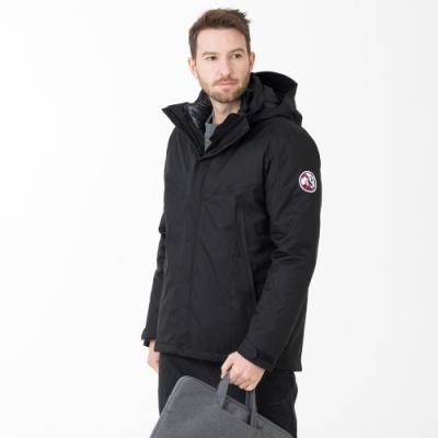 【St. Bonalt 聖伯納】男款多口袋4in1智慧羽絨衝鋒衣 (8100-黑色) 兩件式 防風防水 保暖
