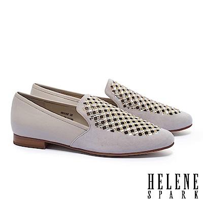低跟鞋 HELENE SPARK 華麗璀璨晶鑽沖孔麂皮拼接羊皮樂福低跟鞋-灰