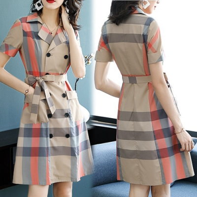 【韓國K.W.】話題單品活力時光格紋洋裝