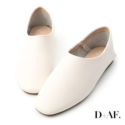 D+AF 極簡定番.素面方頭可後踩懶人鞋*白