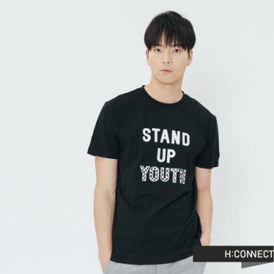 H:CONNECT 韓國品牌 男裝-休閒印字T-shirt-黑