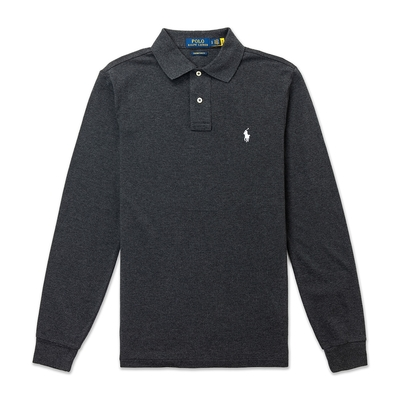 Polo Ralph Lauren 年度熱銷刺繡小馬長袖POLO衫(CUSTOM SLIM FIT)-深灰色