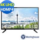 [無卡分期-12期]Westinghouse 43吋 4K液晶電視SLED-4315A