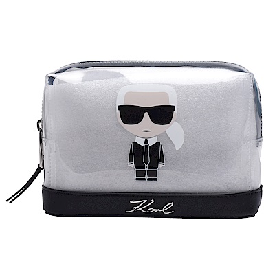 KARL LAGERFELD K/Ikonik品牌浮雕LOGO老佛爺造型圖案拉鍊萬用化妝包