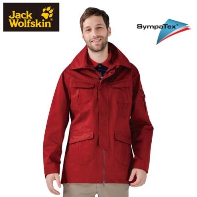 【Jack Wolfskin 飛狼】男 Sympatex 防風防水透氣外套 長版 單件式『紅色』