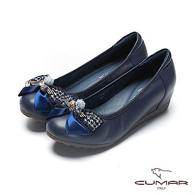 【CUMAR】文藝羅浮宮-多層次蝴蝶結裝飾內增高娃娃鞋-藍