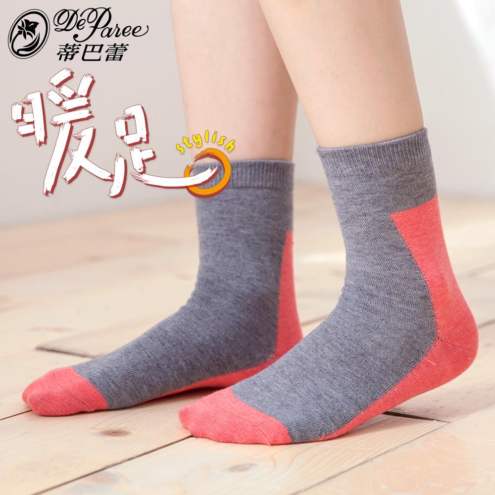 蒂巴蕾 暖足 羊毛襪-色塊