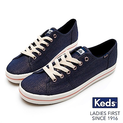 Keds KICKSTART 耀眼珠光綁帶休閒鞋-海軍藍