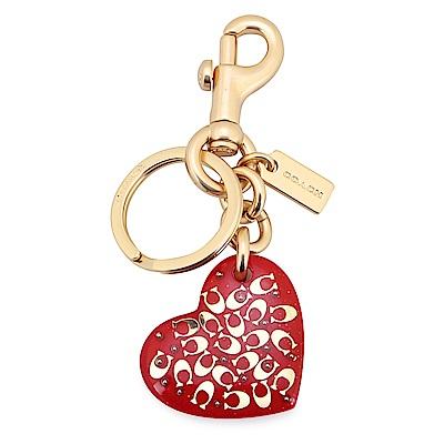 COACH 金色滿版C LOOG愛心造型壓克力鑰匙圈-紅色