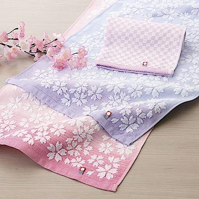 日本丸真 今治櫻花限定禮盒四件組-紫(方巾+毛巾X2+浴巾)