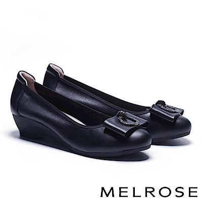 高跟鞋 MELROSE 氣質典雅鑽釦蝴蝶結全真皮楔型高跟鞋-黑