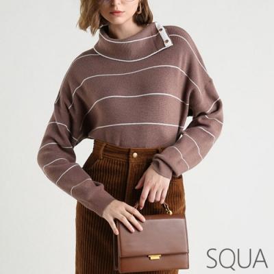 SQUA 三粒扣高領條紋針織上衣-三色-(S~L)