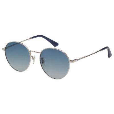 POLICE- 偏光片  復古圓框 太陽眼鏡 (銀色)PE866I