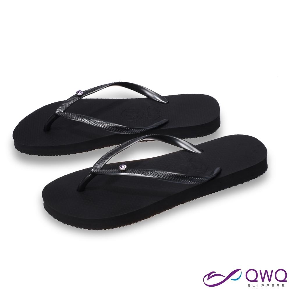QWQ 女款水鑽夾腳拖鞋-鞋帶保固-防滑耐磨-質感拖鞋-紫色圓面小鑽-曜石黑(AAVP)