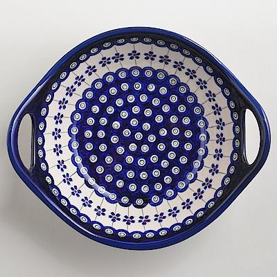 波蘭陶手工製 藏青小卉 雙耳圓形深餐盤22cm