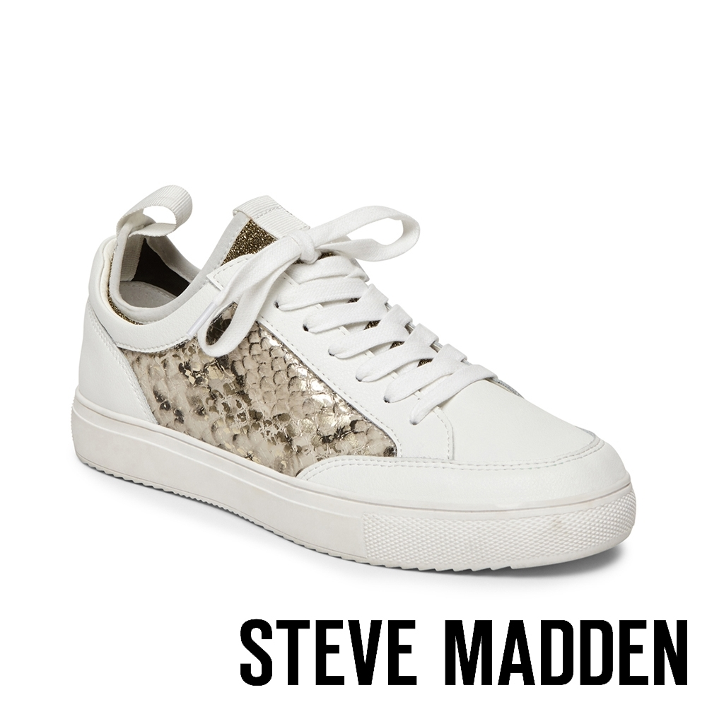 STEVE MADDEN-BLISS 百搭拼接蛇紋仿舊小白鞋-白色