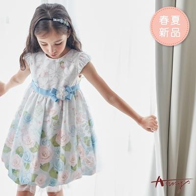 Annys安妮公主-清新粉嫩玫瑰花苞裙襬春夏款公主袖洋裝*9116水藍