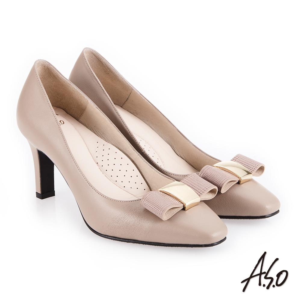 A.S.O 義式簡約 優雅蝴蝶結釦高跟鞋 卡其
