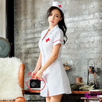 Sexy Cynthia純白連身裙護士角色扮演服二件組-白F