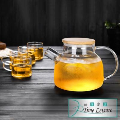Time Leisure 中式午茶竹蓋茶葉濾嘴玻璃花果茶壺(一壺四杯)