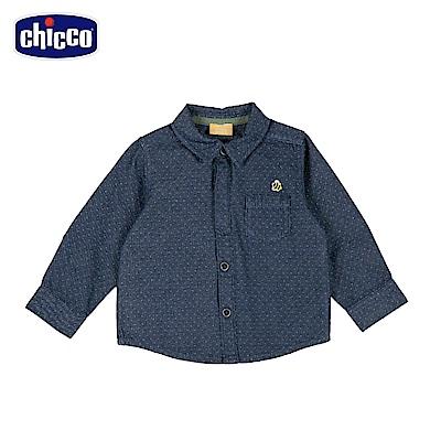 chicco-城市系列-緹織點點長袖襯衫-青(2-4歲)