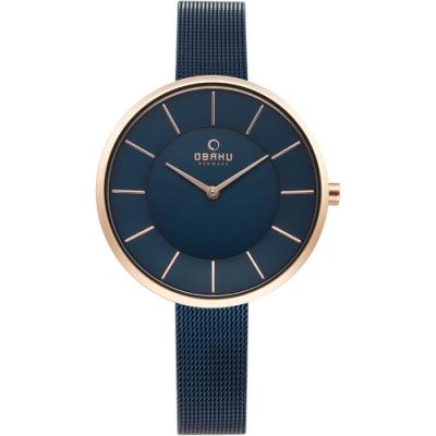 OBAKU 純粹時刻鋼質腕錶-藍-V185LXVLML-38mm