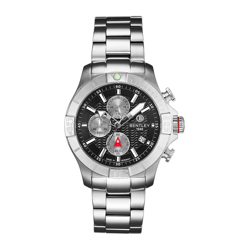 Bentley 賓利 AQUAMARINE系列 三眼不銹鋼手錶-黑面x銀/43mm