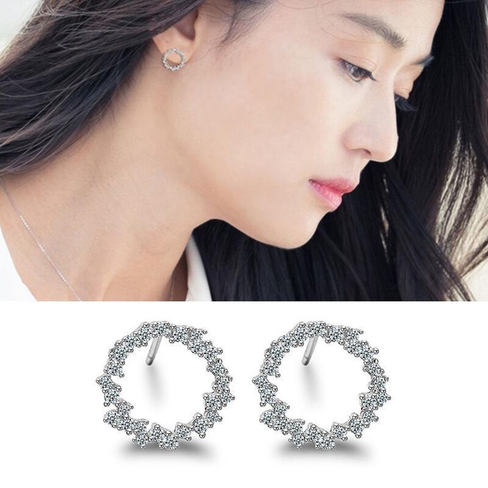 梨花HaNA 韓國925銀藍色大海的傳說全智賢優雅花環訂情物耳環