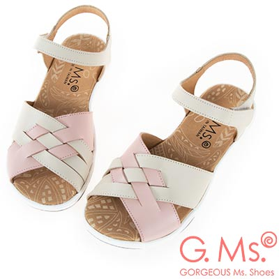 G.Ms. MIT系列-超輕量牛皮編織休閒厚底涼鞋-米白