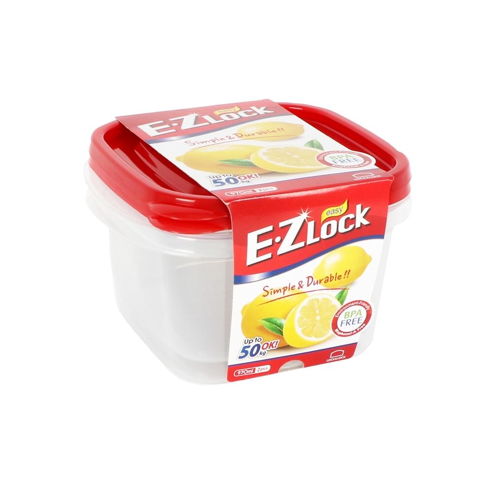 樂扣樂扣 EZ LOCK方型PP保鮮盒/970ML/2入(紅蓋)(快)