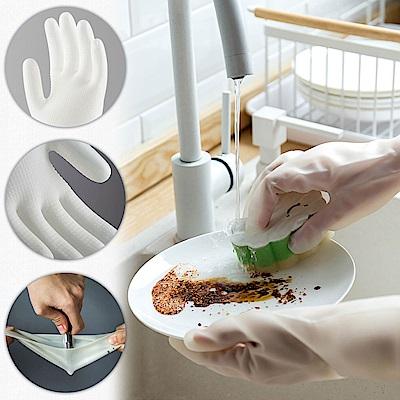 EZlife防穿刺耐磨家務手套3雙組(贈印花吸水抹布)