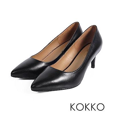 KOKKO - 風華再現素面尖頭高跟鞋-水墨黑