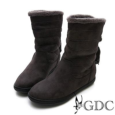 GDC-秋冬必備毛絨可愛流蘇反摺短靴-深灰色
