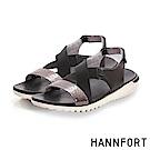 HANNFORT Ultra Flex 3D金屬感時尚交叉涼鞋-女-星空黑
