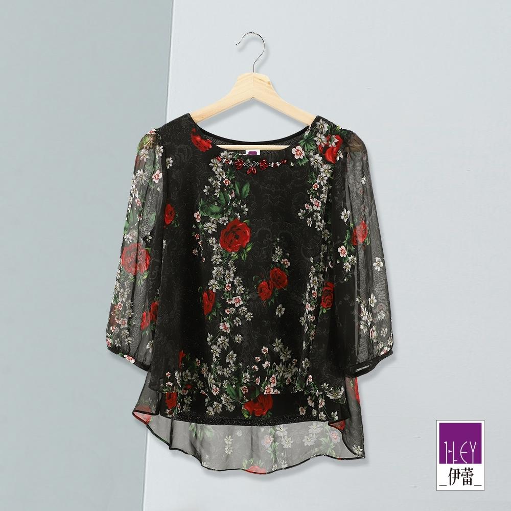 ILEY伊蕾 氣質織蔥玫瑰印花雪紡上衣(黑)