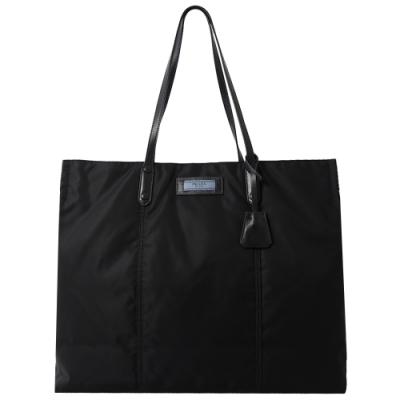 PRADA 標籤LOGO厚尼龍購物托包(黑)