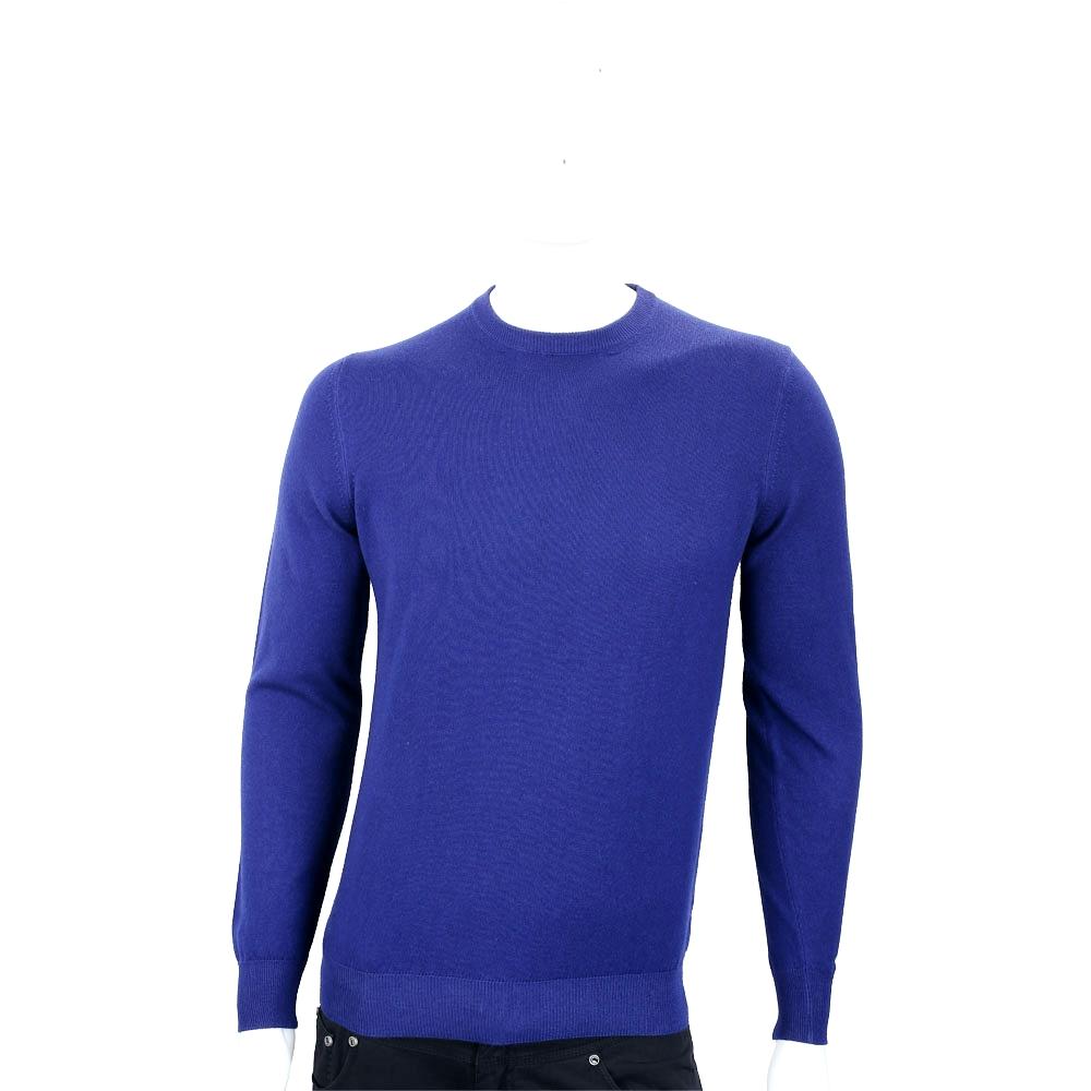 Andre Maurice 喀什米爾寶藍色圓領羅紋細節羊毛衫(男款) @ Y!購物