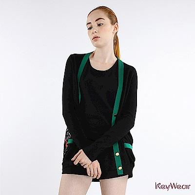 KeyWear奇威名品     歐式復古百花圖拼接針織長袖外套-黑色