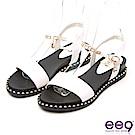 ee9 耀眼光芒精緻一字型鏤空露趾質感平底涼鞋 白色