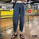 JILLI-KO 高腰直筒寬版牛仔褲- 藍