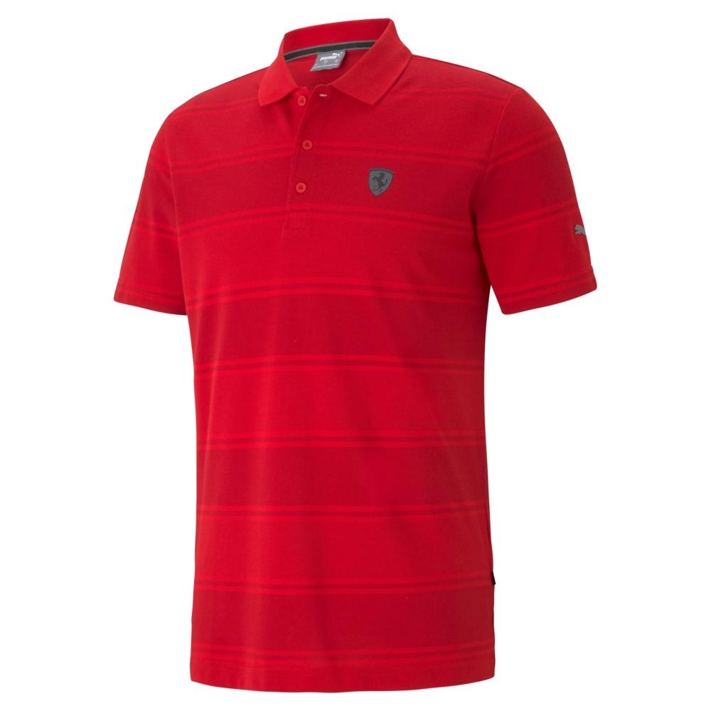 PUMA-男性法拉利經典系列條紋短袖Polo衫-法拉利紅-歐規