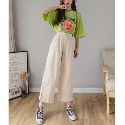 2F韓衣-簡約時尚素色寬鬆卷邊寬褲-3色-(S-XL)