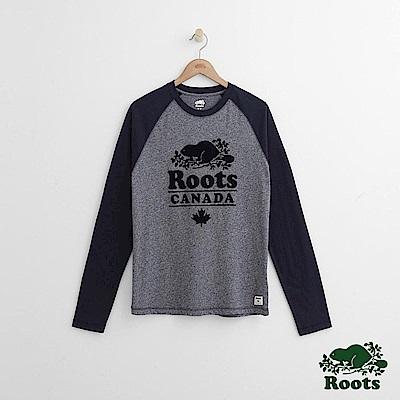Roots 男裝-度假小屋短長袖T恤-藍色