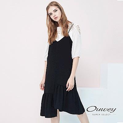 OUWEY歐薇 韓風素色百搭魚尾洋裝(黑)