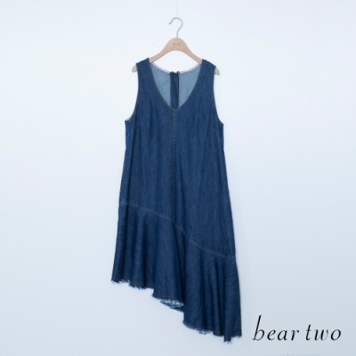 beartwo-剪接裙襬無袖洋裝-深藍