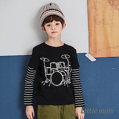 Little moni 酷玩音樂拼接上衣(兩色可選)