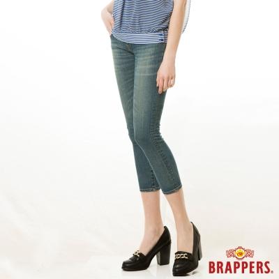 BRAPPERS 女款 新美腳Royal系列-女用彈性七分反摺褲-藍